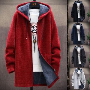Men's Knitted Cardigan Hooded Jumper Fleece Coat Warm Sweater Zip Casual Jacket