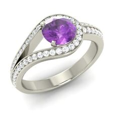 Certified Real Amethyst & G/SI Diamond Knot Engagement Ring in 14k White Gold