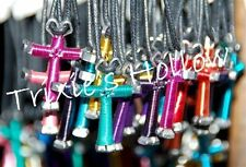 Lot 5 Handmade Disciples Horseshoe Nail Cross Necklaces New - You pick colors!
