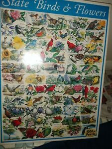 White Mountain Puzzle State Birds & Flowers 1000pc NIB Sealed
