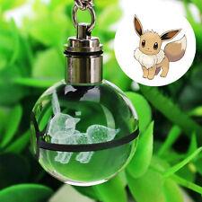 Crystal Ball Pokemon Pokeball Eevee 3D LED Night Light Key Ring Creative Gift