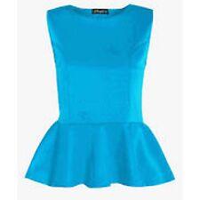 New Ladies Peplum Sleeveless Skater Flared Frill Mini Party Dress Tops Plus Size