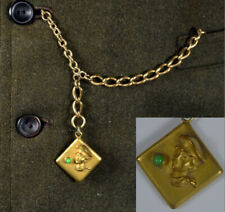 1900's Vintage Pocket Watch Chain_GIBSON GIRL FOB/Charm_Gold Filled Antique