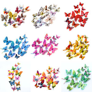 12pcs Double Wing 3D Butterfly Sticker Decal Wall Decals Kids Home Decor Magnet