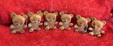 "6 VINTAGE Flocked TEDDY BEAR Christmas Ornaments BROWN 2"""