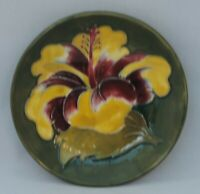 Moorcroft yellow Hibiscus small round Dish on Green Ground - 11.5cm diameter