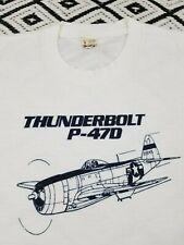 Vintage 80`s THUNDERBOLT P-47D Airplane T Shirt 50/50,Screen Stars ,pilots ,SM
