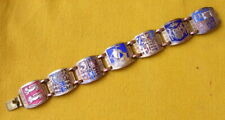PARIS coats of arms of France Souvenir Bracelet w/ Scenic Enamel Links 1950s