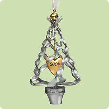2004 Hallmark SILVER METAL TREE Ornament OUR FIRST CHRISTMAS