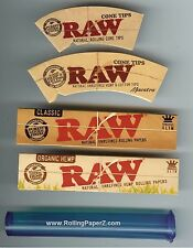 Raw King Size Slim Classic & Organic Hemp Rolling Papers+Cone Tips+Storage Tube