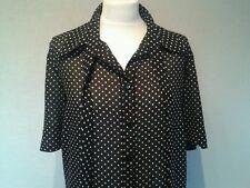 Ladies Black & White Spot Tunic Blouse - Size 20