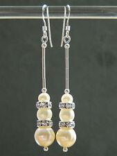 Vintage Glass Pearls, Swarovski Rondelles & Sterling Silver Long Drop Earrings