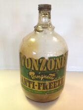 Early 1 Gallon Vonzone Anti Freeze Glass Jug Oil Can Sign Indianapolis IN Gas