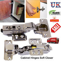 SOFT CLOSE KITCHEN CABINET CUPBOARD DOOR 33MM FULL OVERLAY CLIP ON HINGES UK