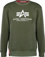 Mens Alpha Industries Designer Khaki Green Crew Neck Sweatshirt Jumper Sweater