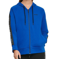 DKNY Sport Blue Lapis Logo French Terry Full Zip Sporty Hoodie Size Medium