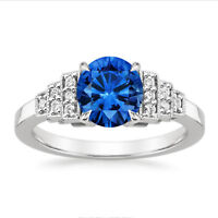 1.50 Ct Round Natural Diamond Blue Sapphire Engagement Ring 14K Solid White Gold
