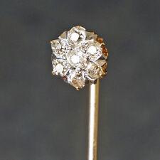 Cut Diamond, Stick Pin w/ Orig. Box Victorian, Solid 14K Yellow Gold & Old Mine