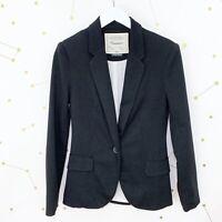 Anthropologie Blazer Size Small S Black One Button Long Sleeve Knit Cartonnier