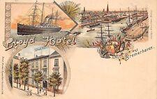 BREMERHAVEN, GERMANY, GRUSS AUS MULTI-VIEW, LLOYD HOTEL, HARBOR, SHIP, c. 1899