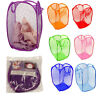 New Laundry Foldable Basket Up Clothes Washing Bag Bin Hamper Mesh Storage