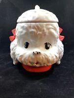 VINTAGE White Dog Cookie Jar Poodle Maltese Cookie Jar  Doggie Treat Jar
