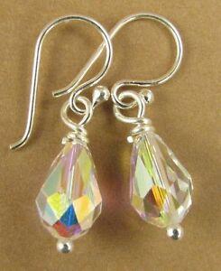 Aurora borealis crystal earrings w/Swarovski elements. Sterling silver 925.