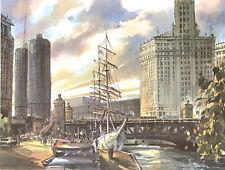 "Albert Hollenbeck Michigan Ave Bridge Chicago 22x28"" Excellent Cond 1966 UAL"