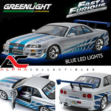 "GREENLIGHT 19041 1:18 NISSAN SKYLINE GTR R34 ""FAST & FURIOUS"" LED LIGHTS"