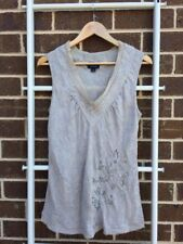 Lovely WITCHERY Taupe 100% Silk Embellished Tank Top Blouse Size 12 EUC