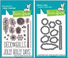 Lawn Fawn Photopolymer Clear Stamps 17ct + Dies ~ DECK THE HALLS ~ LF721, LF722