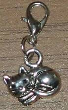 Tibetan Silver Cute Sleeping Cat Clip On Bracelet Charm