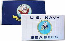3x5 3'x5' Wholesale Combo Set U.S. Navy Ship & Navy Seabees White Flags Flag