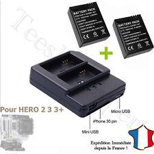 CHARGEUR Double +  2 BATTERIES pour GOPRO HERO 3 et 3+ - AHDBT-301 - USB HD