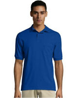 Hanes Cotton-Blend Jersey Men's Polo with Pocket - Deep Royal Size Large