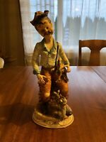 Capodimonte Porcelain Figurine Large Man Hunter with Dog and Bird