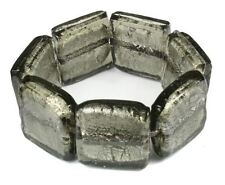 SLATE GREY heavy CHUNKY silver foil GLASS BRACELET WOW!