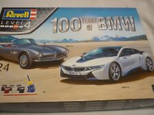 A Revell un-built plastic kit of a 100 years of BMW, 2 Car set BMW i8 & BMW 507