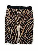 White House Black Market WHBM Animal Print Pencil Skirt Women's Size 4