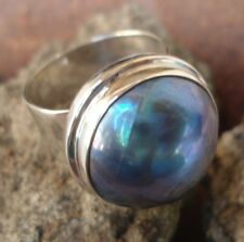 Sterling Silver 925-WY27-Bali Hand Made Ring Plain Round Grey Mabe Pearl Size 9