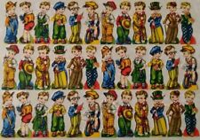 Rare Vintage Embossed Die Cut Thin Paper Little Boy Old Fashion Clothing Theme