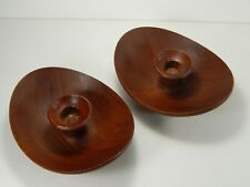2 Danish Teak Candle Holders. Made in Denmark. Mid Century Modern.