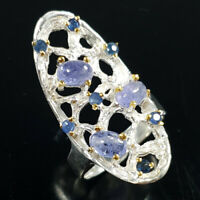 Tanzanite Ring Silver 925 Sterling Vintage6x4mm Size 7 /SRT18-18-1
