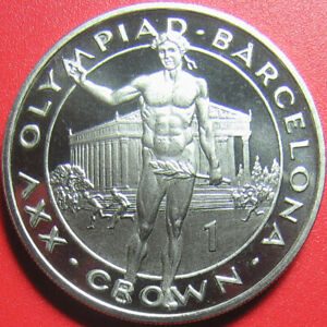 1991 GIBRALTAR 1 CROWN PROOF-LIKE OLYMPIC VICTOR NUDE BARCELONA CuNi (no silver)
