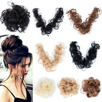Long Thick Hair Extension Scrunchie Wrap Messy Bun Updo Curly Chignon Hair Piece