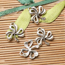 24pcs dark silver color flower leaf design charms  EF2622