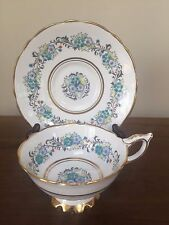 Royal Stafford BLUE & TURQUOISE Floral Footed Cup & Saucer Set
