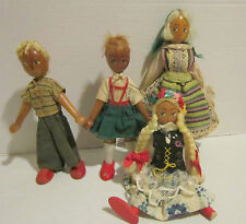 4 vintage wood dolls - made in Poland - 2 in ethnic outfits + 1 boy 1 girl- 7-9""