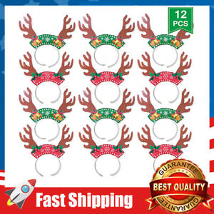 12 Pack Reindeer Antlers Headband Christmas Party Decorations Xmas Headbands