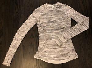 Lululemon Womens Runderful Long Sleeve Top Rulu Reconnect White Size 2 EUC